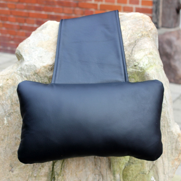 Karawunzlator - THE real leather neck pillow unique 35x20 cm Black