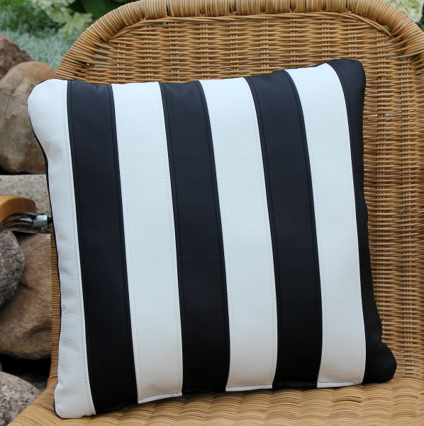 Leather cushion stripe look