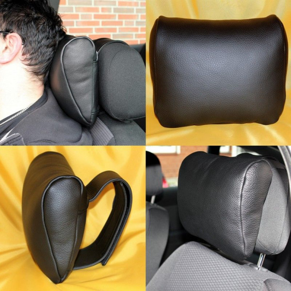 Neck-kiss leather neck pillow for relaxed long car rides