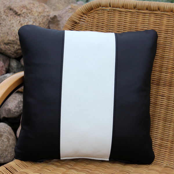 Leather cushion black and white stripes