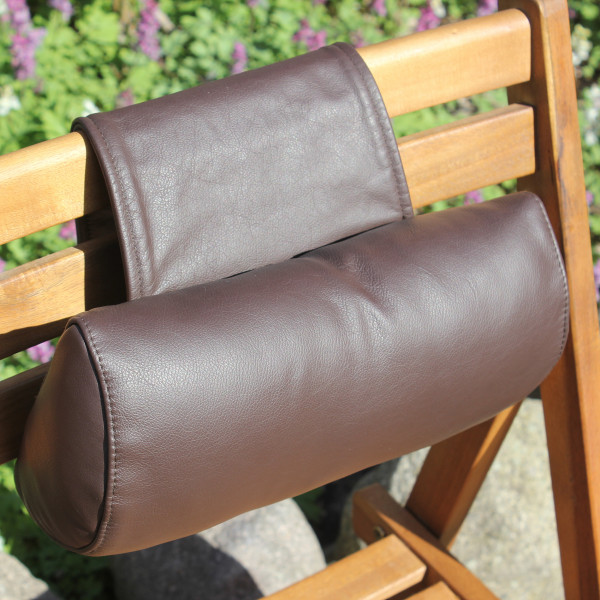 Leather neck roll with counterweight & soft filling
